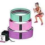 XMH Bandas de Resistencia Fitness Bandas 3 Sets Bandas de Ejercicio para Yoga, Pilates, Estiramientos Bandas, Bandas de Resistencia de la Cadera Antideslizantes de Tela