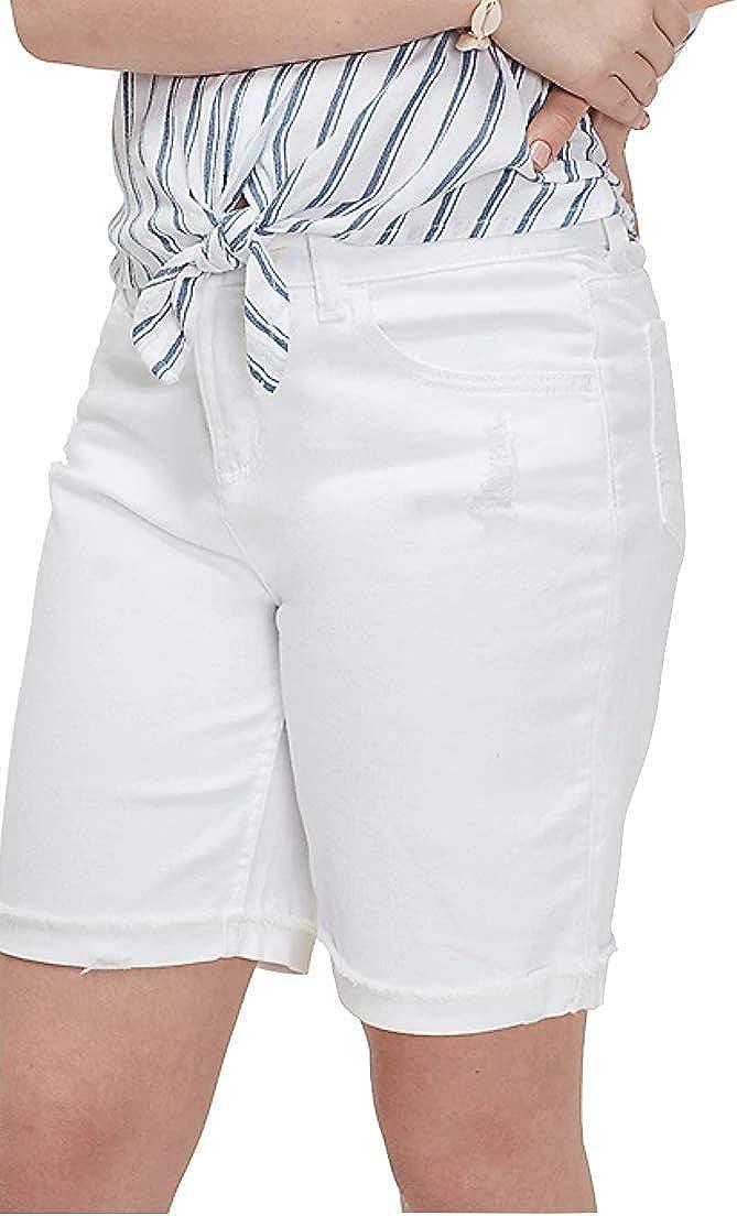 Justice Destructed cheap Girlfriend Denim Shorts Bermuda White specialty shop