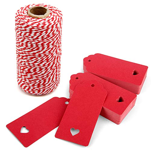 300 Feet Red and White Twine and 100 PCS Gift Tags Valentine's Day Heart Shape Kraft Paper Tags Price Tags by Blisstime (red-3)