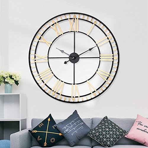 Reloj de Pared 80cm * 80cm * 4cm del Metal del Oro Material Hierro Hierro Original Reloj Grande Reloj de Pared Circular Colgante de Reloj Local Sala de Estar Mesa