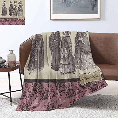 RoomdecorG Victorian Blanket Ladder Ladies Clothes Fashion History Dress Handbag Feather Gloves Floral Design Print 40x50 Inch Microfiber Plush Flannel Blanket for Couch