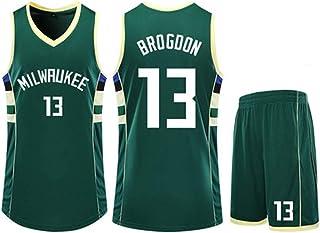 Jersey Suit Milwaukee Bucks 13#Malcolm Brogdon Basketball Uniform Sleeveless Vest Sports Shorts Men's Fitness Clothing Competition Casual Suit,Green,2XS