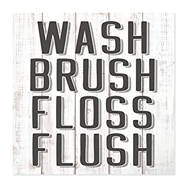 Wash Brush Floss Flush Bathroom Rustic Wood Wall Sign 12x12