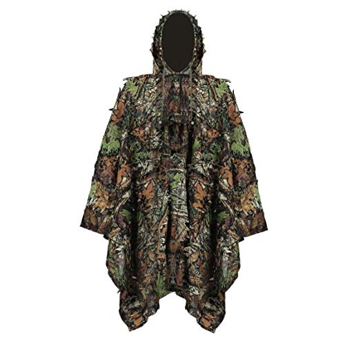 Canjerusof Ghillie Suit Stealth Sniper Set 3D Camouflage Cape Cloak Jungle for Outdoor Christmas Decoration
