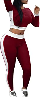 KAIXLIONLY Women's 2 Piece Jumpsuit Outfits Active Tracksuit Sweatsuits Crop Top + Pants Set Sportswear