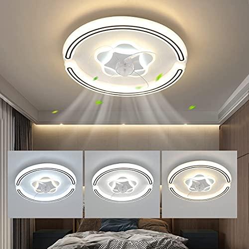 SXYRN Ventilador de Techo Moderno LED de 92W con iluminación Control Remoto Silencio Luz de Techo Regulable de 3 velocidades de Viento Regulable para Cocina Dormitorio Habitación 3000-6500K Ø50cm