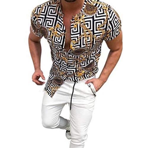 Herren Kurzarmhemden Black Stripes Shirt mit Goldstickerei, Revers Slim Casual Tops Sommer Full Button Kleidung