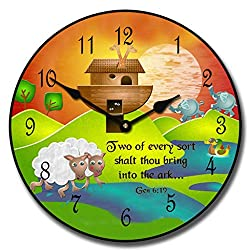 Noah's Ark Wall Clock, Available in 8 Sizes, Most Sizes Ship 2-3 Days, Whisper Quiet.