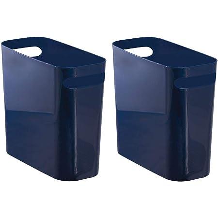 Shatter-Resistant Home Office Garbage Container Bin with Handles for Bathroom Kids Room 12 High Purple Kitchen Dorm mDesign Slim Plastic Rectangular Large Trash Can Wastebasket