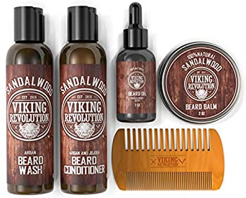 Ultimate Beard Care Conditioner Kit - Beard Grooming Kit for Men Softens Smoothes and Soothes Beard Itch- Contains Beard Wash & Conditioner Beard Oil Beard Balm and Beard Comb- Sandalwood Scent