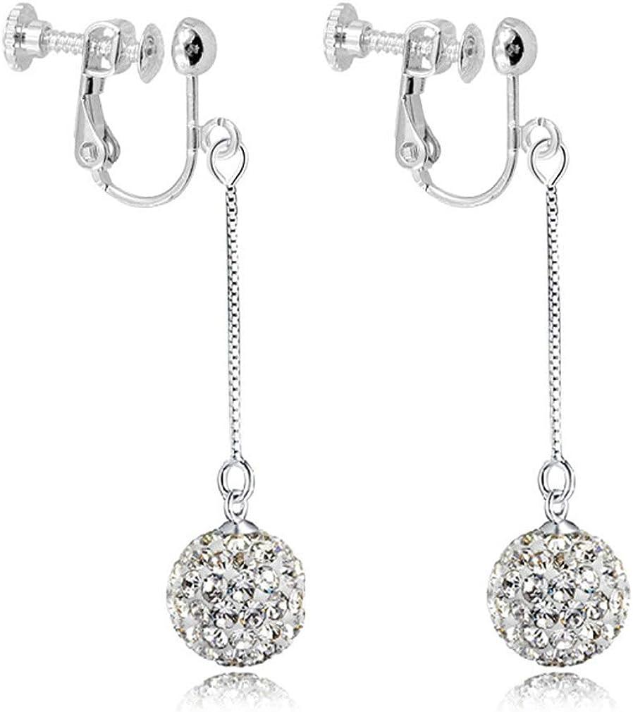 Fashion Crystal Ball Laser Beads Tassels Dangle Clip on Earrings no Pierced Women Girls Platinum Plated