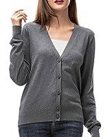 Woolen Bloom Women's V Neck Button Down Cardigan Sweaters Long Sleeve Lightweight Fall Classic Cardigans for Women Knit Gray