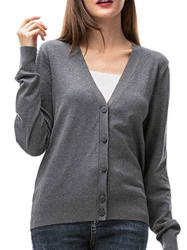 Woolen Bloom Womens V Neck Button Down Cardigan Sweaters Long Sleeve Lightweight Fall Classic Cardigans for Women Knit Gray Medium