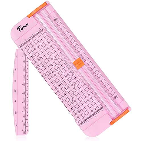 Firbon A4 Paper Cutter 12 Inch Titanium Straight Paper Trimmer with Side Ruler for Scrapbooking Craft, Paper, Coupon, Label, Cardstock(Pink)