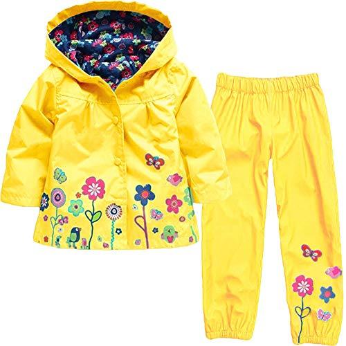 Heternal Baby Girls Boy Hooded Coat Jacket Overtrousers Outwear Raincoat Suit Super Waterproof Carton Outdoor Lightweight Cagoule Yellow 12 18 Months
