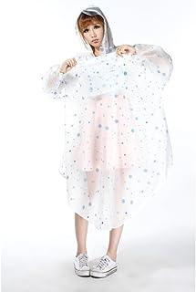 Yxsd raincoat Poncho Transparent Raincoat Raincoat Fresh Small Snowflake Raincoat Transparent Raincoat Bicycle Raincoat (C...