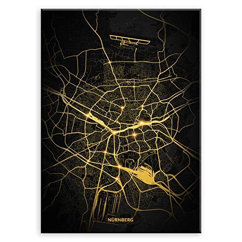 Murrano Poster - Städte - zur Selbstmontage mithilfe eines Magnets montiert - aus Metall - City Lights - Nürnberg - 67 x 48 cm