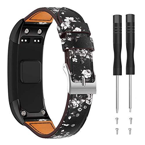 Junboer Compatible Garmin Vivosmart HR Band, Replacement Premiun Leather Bracelet Strap Wristband Accessory with Screwdriver for Garmin Vivosmart HR, Not for Garmin Vivosmart HR+(No Tracker)