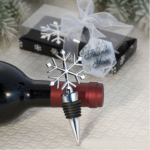 Snowflake Design Wine Bottle Stopper Wedding Favors, 1