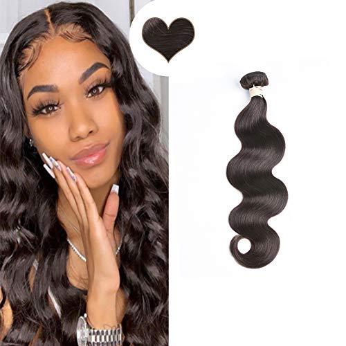 [5% Rabatt für Heißen Sommer] Ugeat Weave on Human Hair Extensions 100 Gramm Tressen zum Einnaehen Locken Weft Echthaar Haarverlangerung Dunkelstes Braun 28zoll/70cm