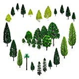 29pcs Mixed Model Trees 1.5-6 inch(4-16 cm), OrgMemory Ho Scale Trees, Diorama Models, Model Train Scenery, Architecture Trees, Model Railroad Scenery with No Stands