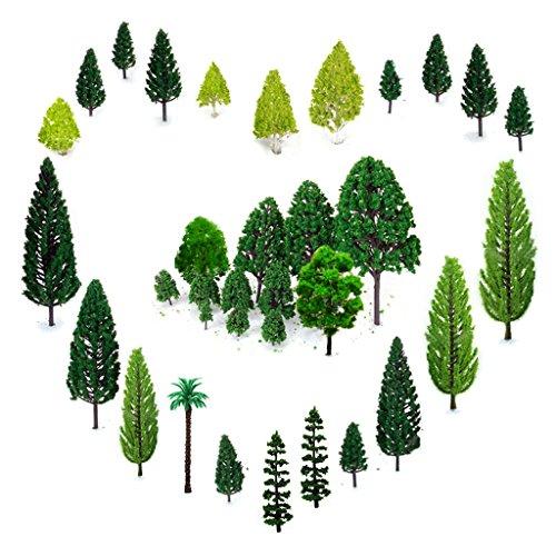 29pcs Modellbau Bäume (4 -16 cm), OrgMemory h0 Bäume, Tabletop Gelände, Spur n, Mischwald Bäume mit No Stände, Die Bäume Stehen Nicht Selbständig