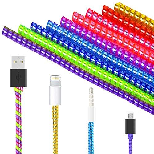 Larcenciel Cable protector 9 Stück Kabel Schutz Ladegerät, Flexibler Silikon Micro USB Schutz, Maus Kabelschutz, Anzug für alle Handys,50 cm Bunte universelle Spirale Zugentlastung Schnur Saver