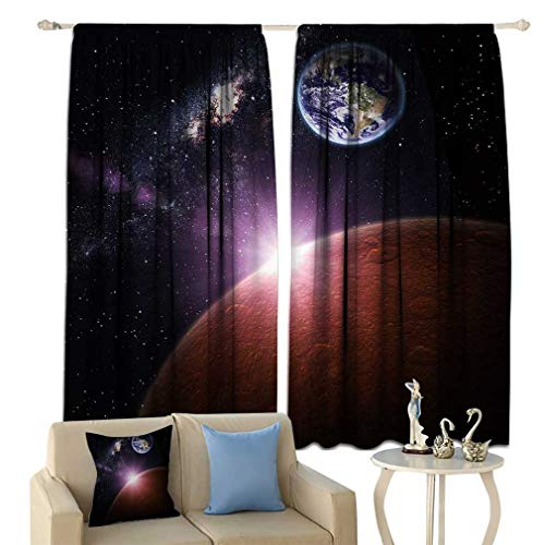 Cozydaily Space Decor Modern Blackout Curtain Earth and Mars in Mysterious Space Elements of The Image Supplied by NASA Window Curtains Drapery for Bedroom 52'' x 63''