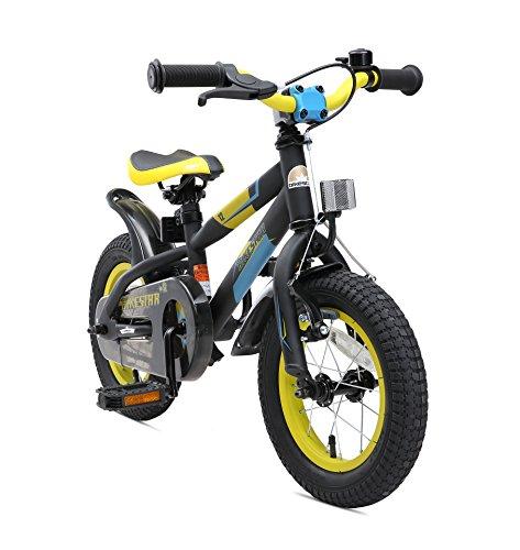 BIKESTAR Kinderfahrrad 12 Zoll für Mädchen und Jungen ab 3-4 Jahre | 12er Kinderrad Mountainbike | Fahrrad für Kinder Schwarz & Gelb | Risikofrei Testen