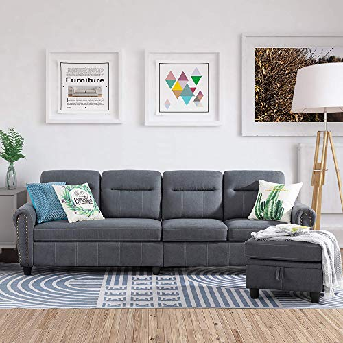Convertible Sectional Sofa Couch with Reversible Chaise, L-Shaped Couch 4-seat Sofas with Modern Chenille Fabric for Living Room(Grey)