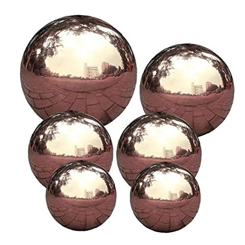 Yililay Acero Inoxidable Bola de Mirada, 6 PCS Diámetro 5-15 cm Pulido Espejo Reflectante Bola del Hueco del jardín Esfera, de Oro Rosa sin Fisuras Mirando Globe para jardín Decoración