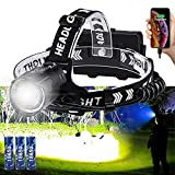 Vastfire Rechargeable Spot-and Floodlight Headlamp 100000 Lumens Ultrabright Headlight for Adults Trail Running Coon Deer Elk Hunting High Power Hands-Free Lighting for Mountain Biking Skiing