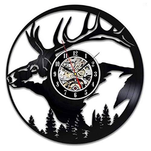 wtnhz LED Reloj de Pared de Vinilo Colorido Elk Disco de Vinilo Reloj de Pared diseño Moderno Animal decoración 3D Ciervos Reloj de Vinilo Reloj de Pared decoración del hogar