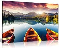 山景色 湖 夕暮れ ボートの木 キャンバスウォールアート 写真プリント ホームデコレーション 76x51 cm (30x20in) 5060694366900