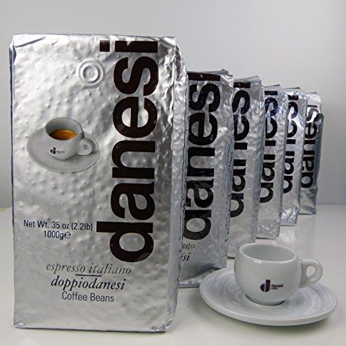 Danesi Doppio Espresso Coffee Beans 100% Arabica (6 x 2.2 lbs Bag + Cup)