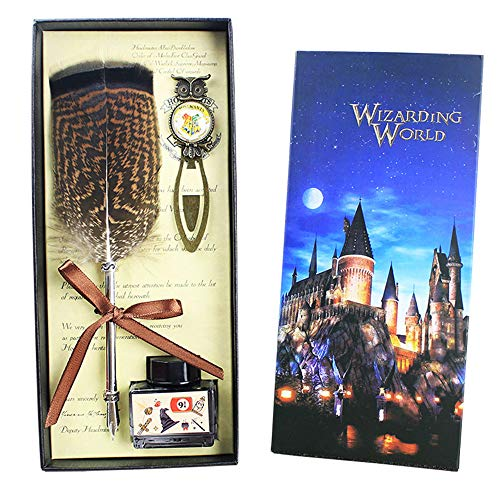 Wizarding World Harry Potter pluma pluma pluma Set con búho marcador y tinta, antiguo Dip pluma Pen Set Calligraphy Pen Writing Quill Ink Dip Pen para niños amigo Navidad regalo de cumpleaños