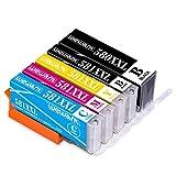 Wewant Cartuccia d'inchiostro PGI-580 CLI-581 XXL Compatibile In sostituzione di Canon 580 581 per Canon Pixma TS6150 TS6151 TS8150 TS8151 TS8250 TS9150 TR7550 TR8550 (PGBK/Nero/Ciano/Magenta/Giallo)