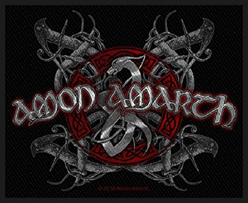 Officially Liscenced Product Amon Amarth Patch Viking Dog Band Logo Oficial Nuevo Negro 8Cm X 10Cm Woven Size Accessory Size
