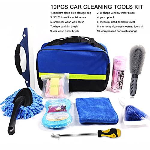 Moniel Kit de herramientas de limpieza de automóviles de 10 piezaskit de herramientas de lavado de automóviles para detallar interiores Paño de limpieza de fibra premium - esponja de lavado