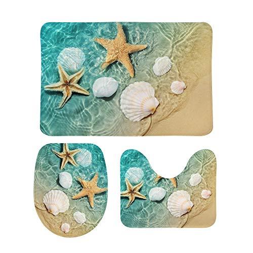 3 Piece Bathroom Rug Set Starfish Seashell Beach Contour Mat Toilet Lid Cover Non-Slip Bath Mat