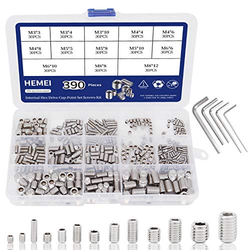 HEMEI 390Pcs M3/M4/M5/M6/M8 Hex Allen Head Socket Set Screw Internal Hex Drive Cup-Point 304 Stainless Steel Metric Grub Screw Bolts Assortment Kit with 5pcs Hex Wrenches