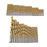 BJLWTQ 98pcs de Titanio Recubierto de Acero de Alta Velocidad de bits Fresa Espiral de 1,5 mm-10 mm Brocas caña Recta