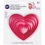Wilton 2304-115 Heart Biscuit/Cookie Cutter Set, Nesting, Valentines, Plastic, Pink, 6 Pieces