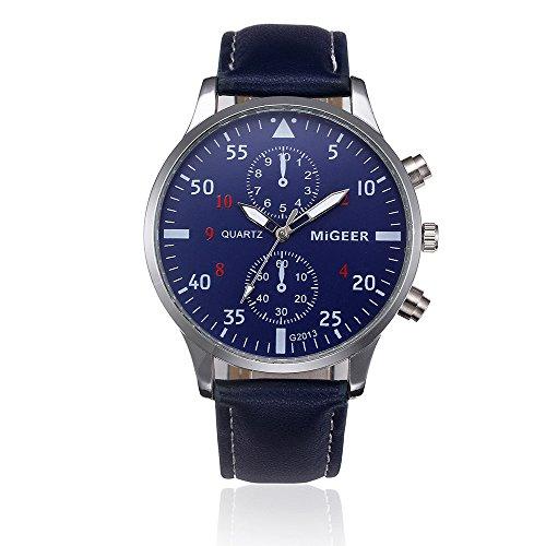 Juliyues Herren Armbanduhr Leder,Retro Männer Analog-Quarzuhr Geschäfts Uhren mit Lederarmband Analog Quarz Armbanduhren