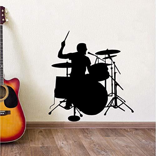 GUDOJK Wandaufkleber Schlagzeuger Silhouette Wandaufkleber Drum Player Wandtattoo Musik Room Decor Abnehmbare Vinyl Wandkunst Wand Drum Wall Poster