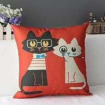 QINU KEONU Cotton Linen Pillow Case Cushion Cover Home Decorative Lover Cat 18 X 18 Inch (1)