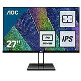 AOC 27V2Q 68 cm (27 Zoll) Monitor (HDMI, Displayport, 1920 x 1080, 75 Hz, Free-Sync) schwarz (Generalüberholt)