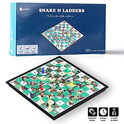 KingMade Magnetic Snakes and Ladders Game Set - Portable with Built-in Storage Board Game for All Ages (10 Inches) | Interesting Gift for Kids and Adult