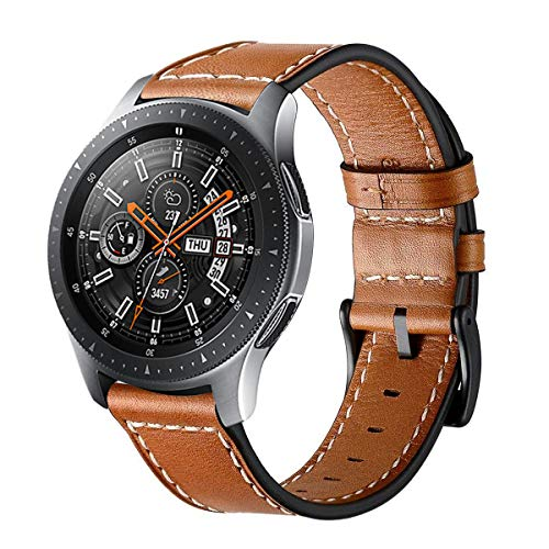 Circle compatible con Galaxy Watch 46 mm correa de reloj,correa de cuero genuino de 22 mm correa de repuesto de acero inoxidable corchete para Galaxy Watch SM-800 / SM-R805