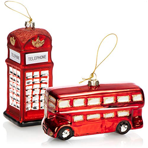 com-four® 2X Hochwertiger Christbaumschmuck - Bus und Telefonzelle aus echtem Glas für die Weihnachtsdeko - Weihnachtsbaum Anhänger (2 Stück - Bus. Telefonzelle)